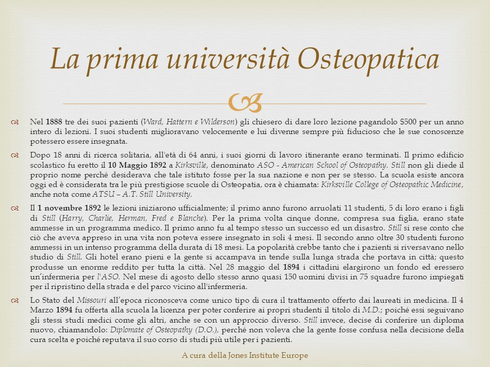 La prima università Osteopatica