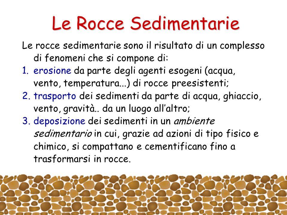 Le Rocce Sedimentarie Le rocce sedimentarie sono il risultato di un complesso di fenomeni che si compone di: