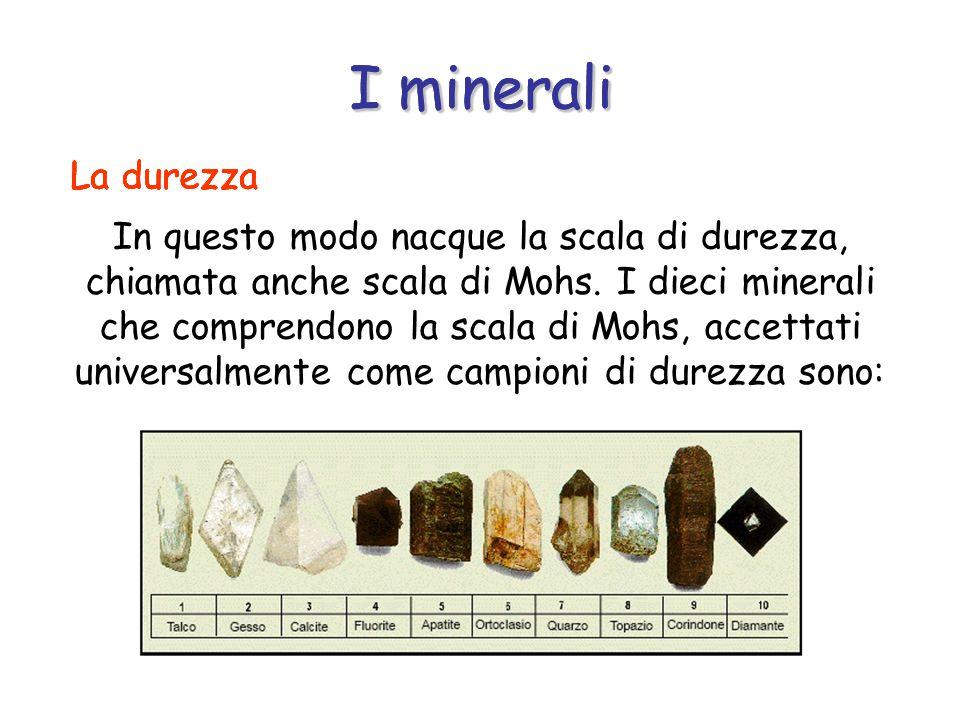 I minerali I minerali I minerali La durezza La durezza La durezza