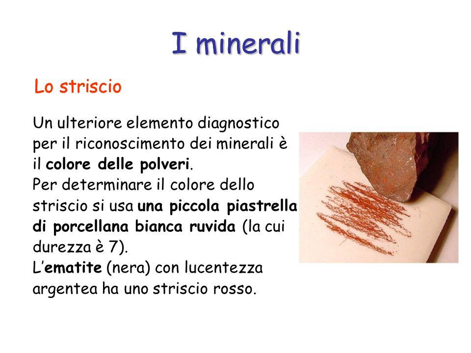 I minerali I minerali Lo striscio Lo striscio Lo striscio