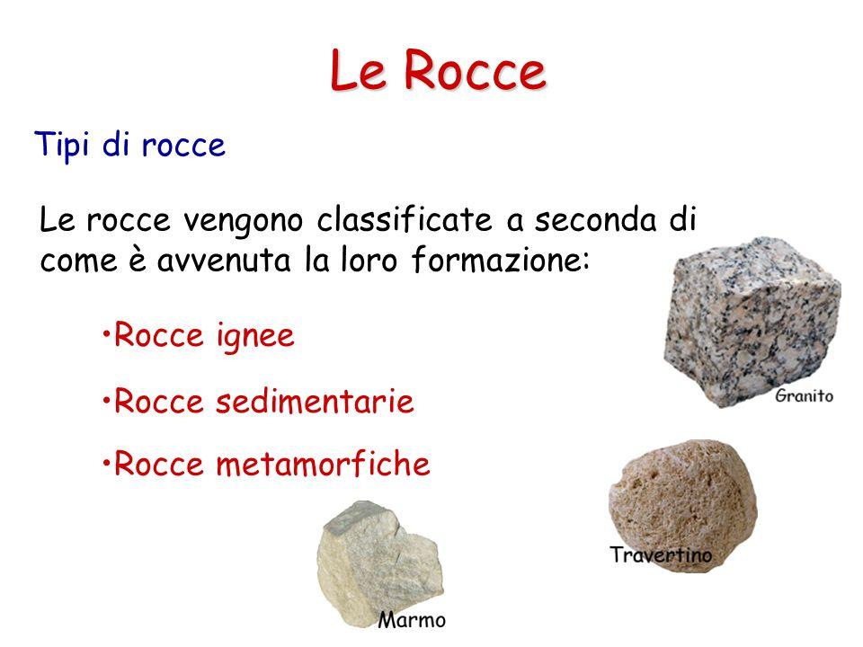 Le Rocce Tipi di rocce. Le rocce vengono classificate a seconda di come è avvenuta la loro formazione: