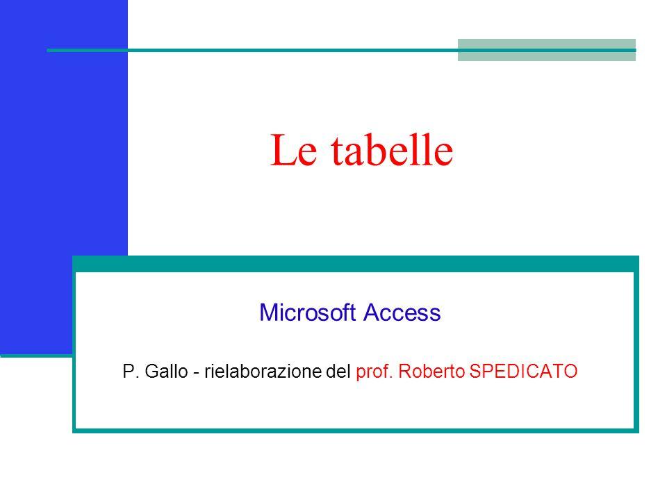 Microsoft Access P. Gallo - rielaborazione del prof. Roberto SPEDICATO
