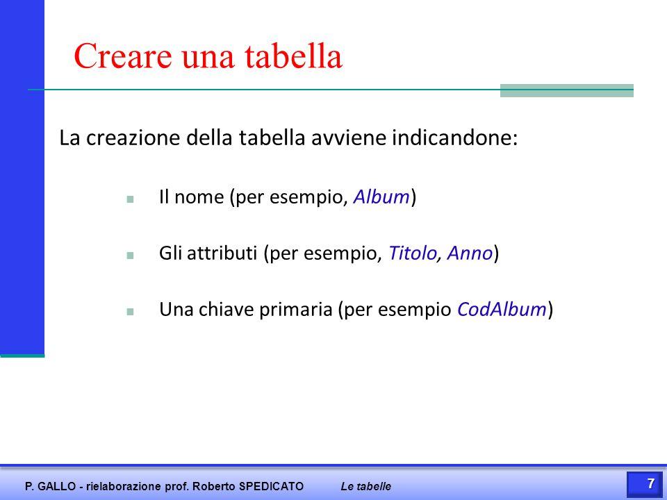 Creare una tabella La creazione della tabella avviene indicandone:
