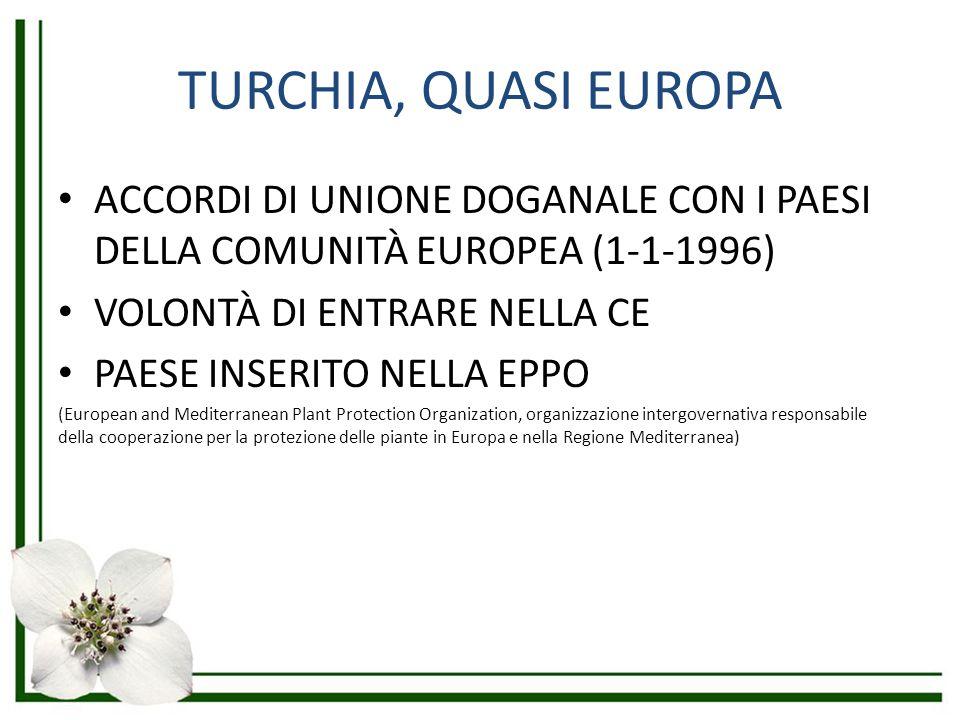 TURCHIA, QUASI EUROPA ACCORDI DI UNIONE DOGANALE CON I PAESI DELLA COMUNITÀ EUROPEA (1-1-1996) VOLONTÀ DI ENTRARE NELLA CE.
