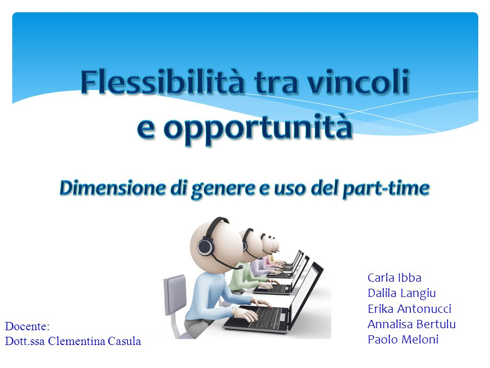 Dimensione di genere e uso del part time