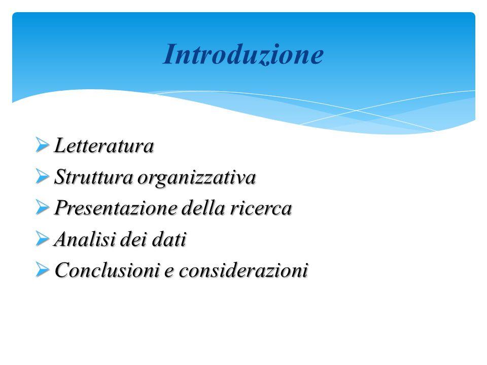 Introduzione Letteratura Struttura organizzativa