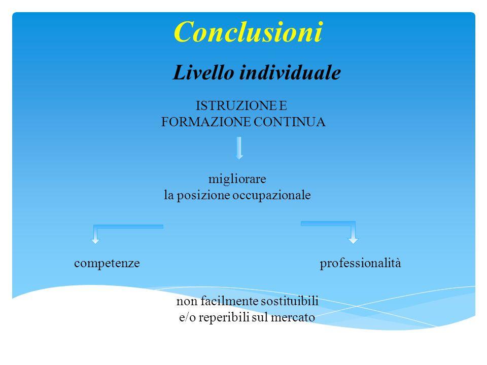 Conclusioni Livello individuale ISTRUZIONE E FORMAZIONE CONTINUA