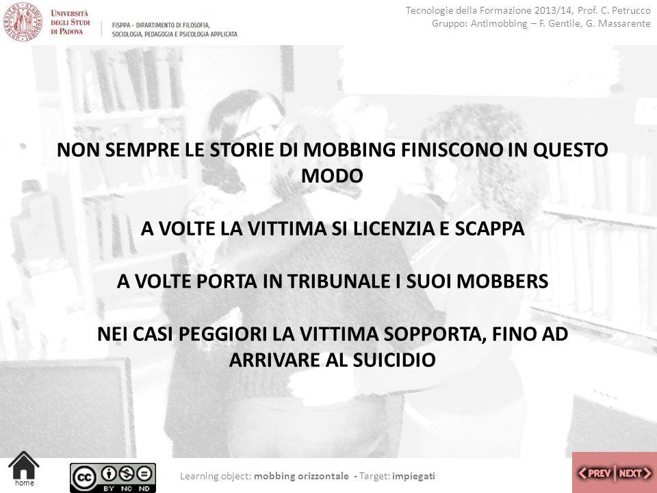 NON SEMPRE LE STORIE DI MOBBING FINISCONO IN QUESTO MODO