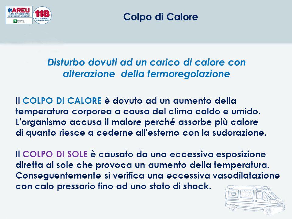 Colpo di Calore Disturbo dovuti ad un carico di calore con alterazione della termoregolazione.