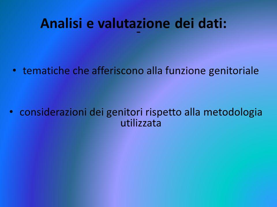 Analisi e valutazione dei dati: