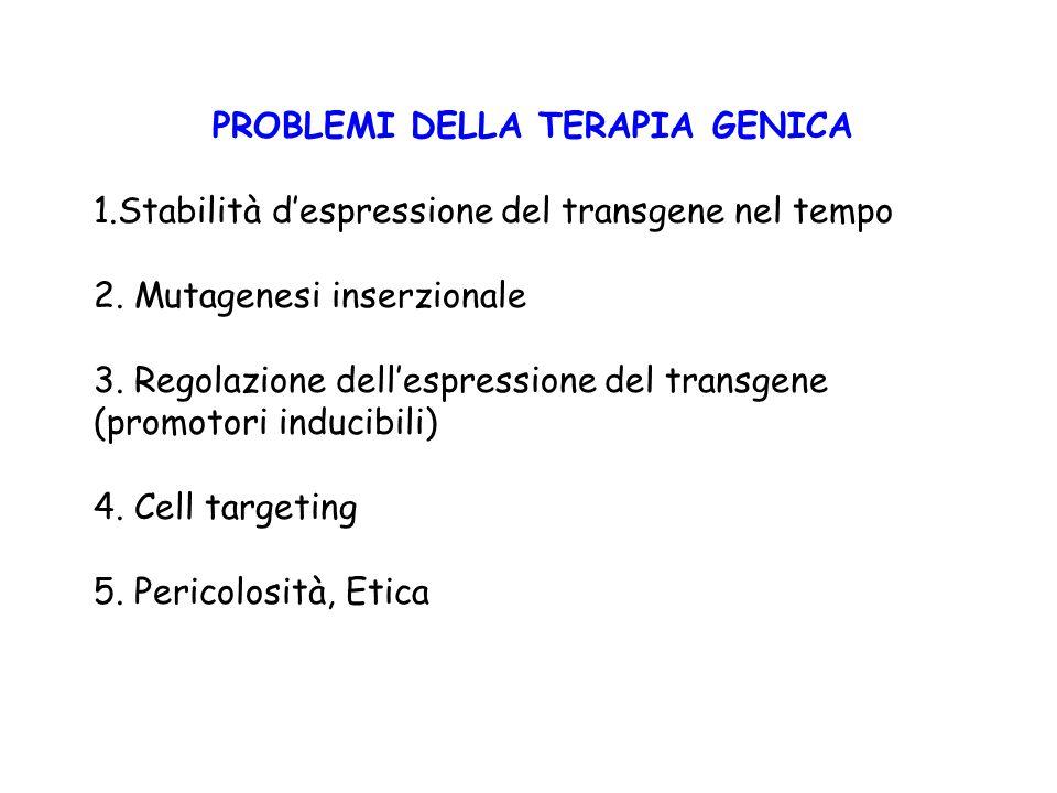 PROBLEMI DELLA TERAPIA GENICA