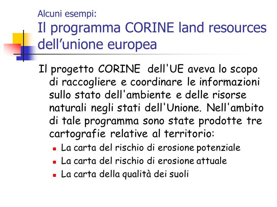 Alcuni esempi: Il programma CORINE land resources dell'unione europea