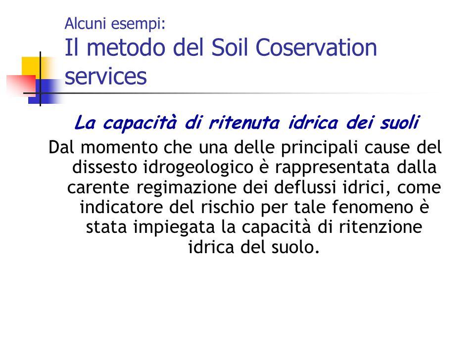 Alcuni esempi: Il metodo del Soil Coservation services