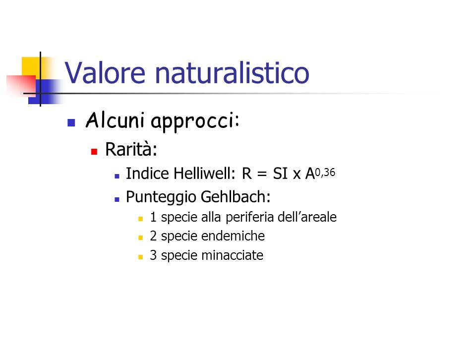 Valore naturalistico Alcuni approcci: Rarità: