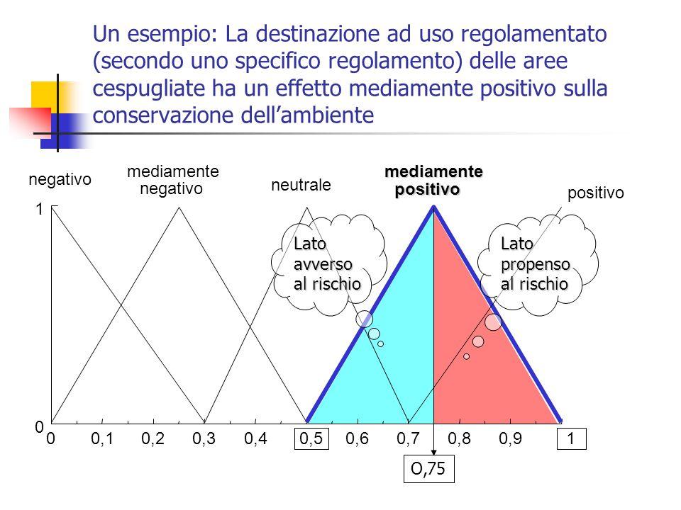 Un esempio: La destinazione ad uso regolamentato (secondo uno specifico regolamento) delle aree cespugliate ha un effetto mediamente positivo sulla conservazione dell'ambiente