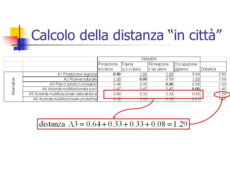 Calcolo della distanza in città