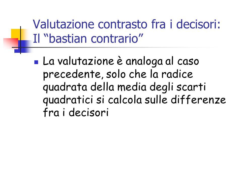 Valutazione contrasto fra i decisori: Il bastian contrario