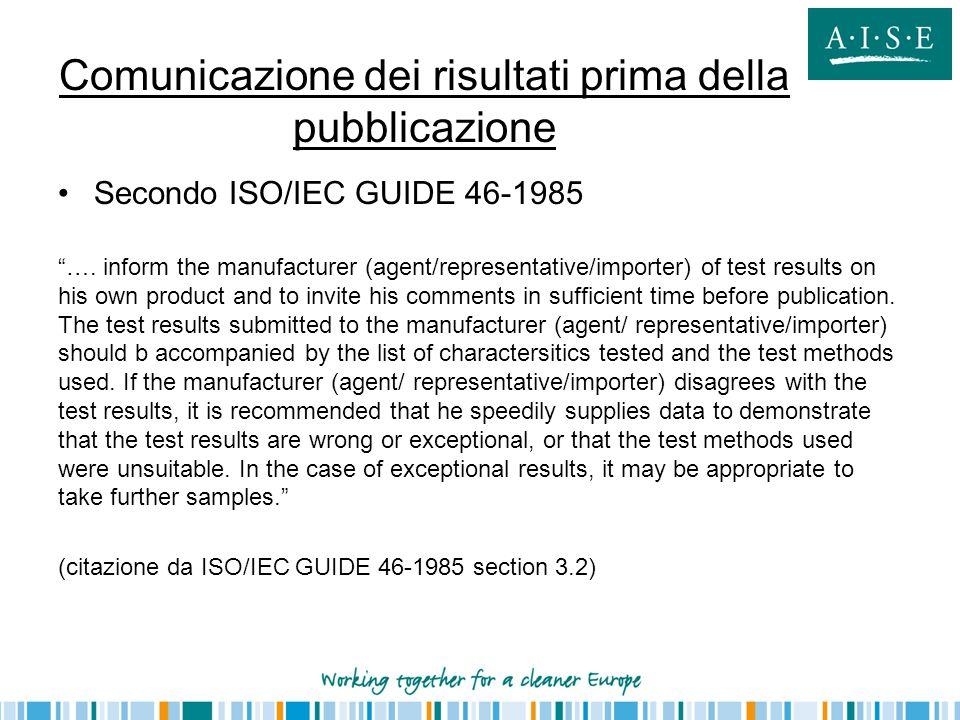 Comunicazione dei risultati prima della pubblicazione
