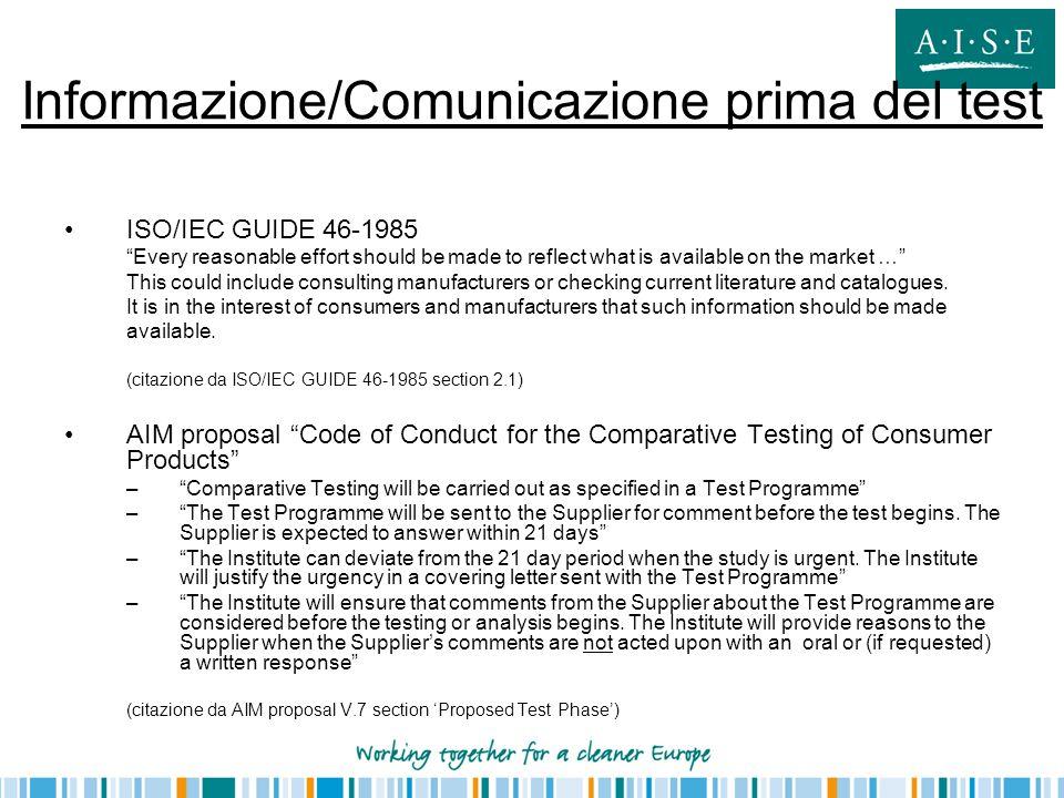 Informazione/Comunicazione prima del test
