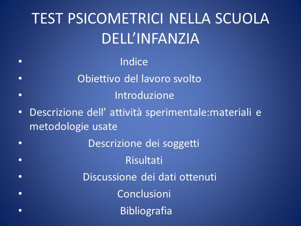 TEST PSICOMETRICI NELLA SCUOLA DELL'INFANZIA