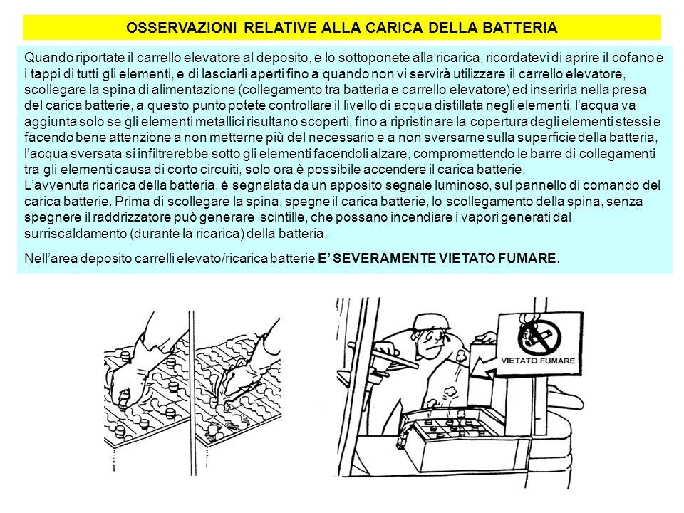 OSSERVAZIONI RELATIVE ALLA CARICA DELLA BATTERIA