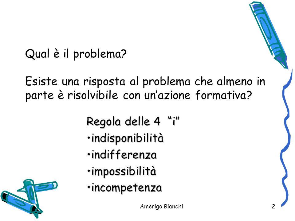 Qual è il problema Esiste una risposta al problema che almeno in parte è risolvibile con un'azione formativa