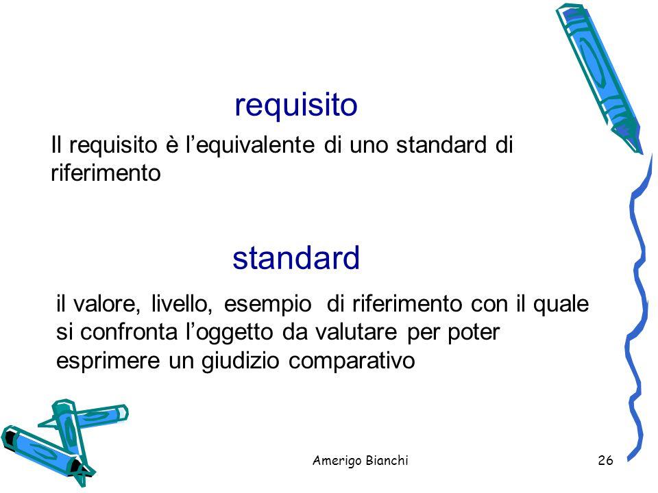 requisito Il requisito è l'equivalente di uno standard di riferimento. standard.