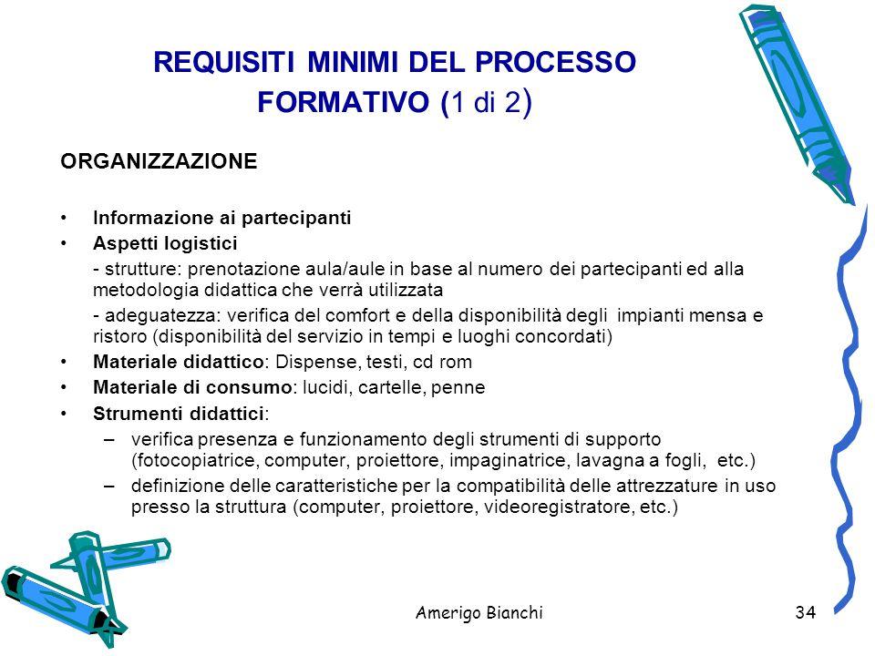 REQUISITI MINIMI DEL PROCESSO FORMATIVO (1 di 2)