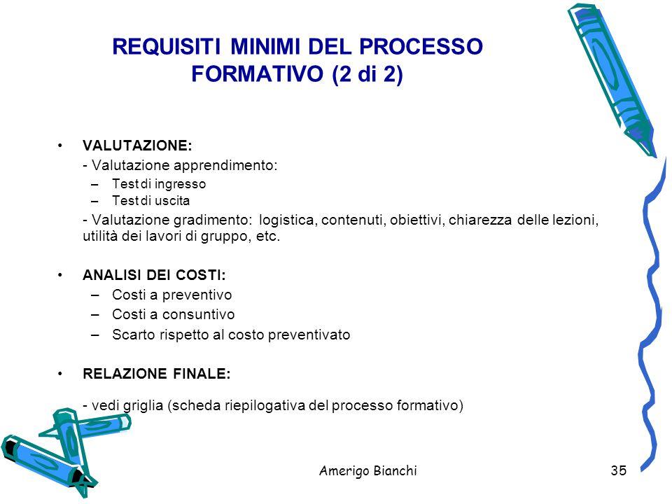 REQUISITI MINIMI DEL PROCESSO FORMATIVO (2 di 2)