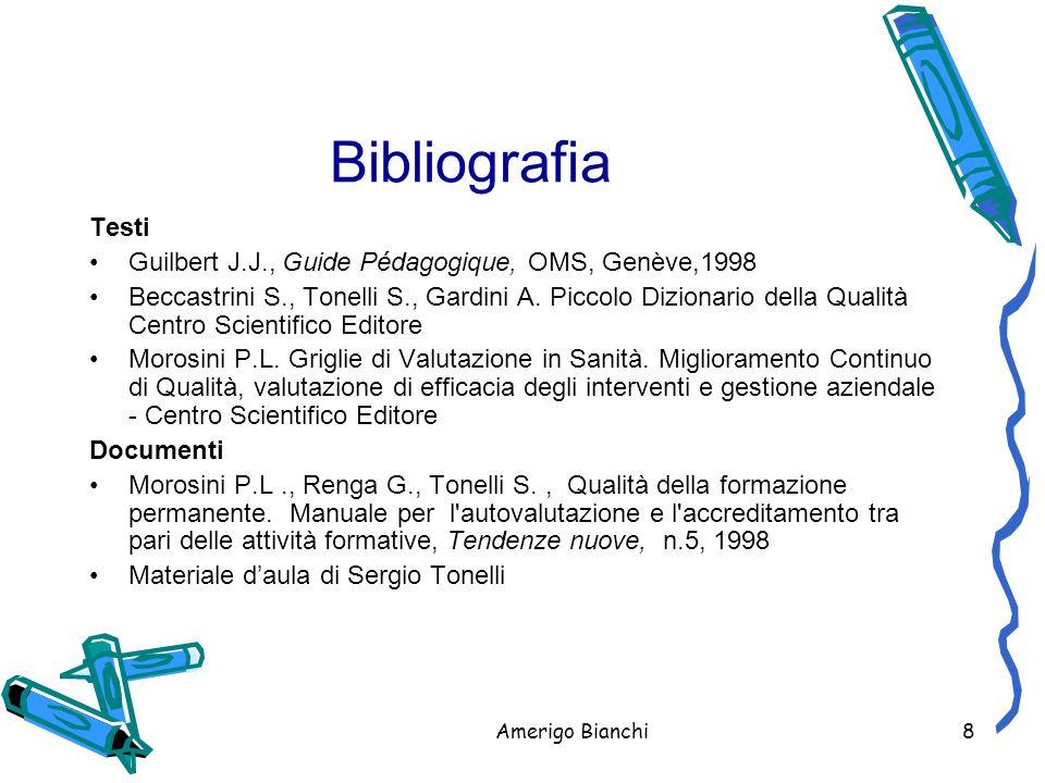 Bibliografia Testi Guilbert J.J., Guide Pédagogique, OMS, Genève,1998