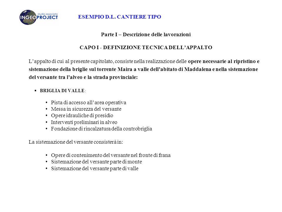 ESEMPIO D.L. CANTIERE TIPO