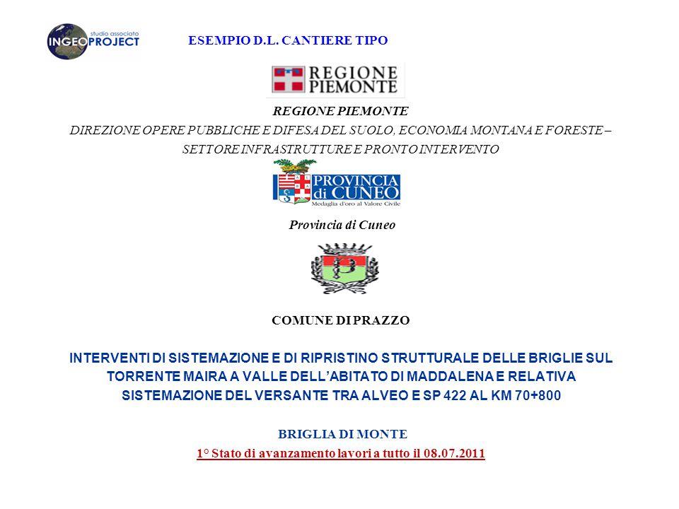 1° Stato di avanzamento lavori a tutto il 08.07.2011