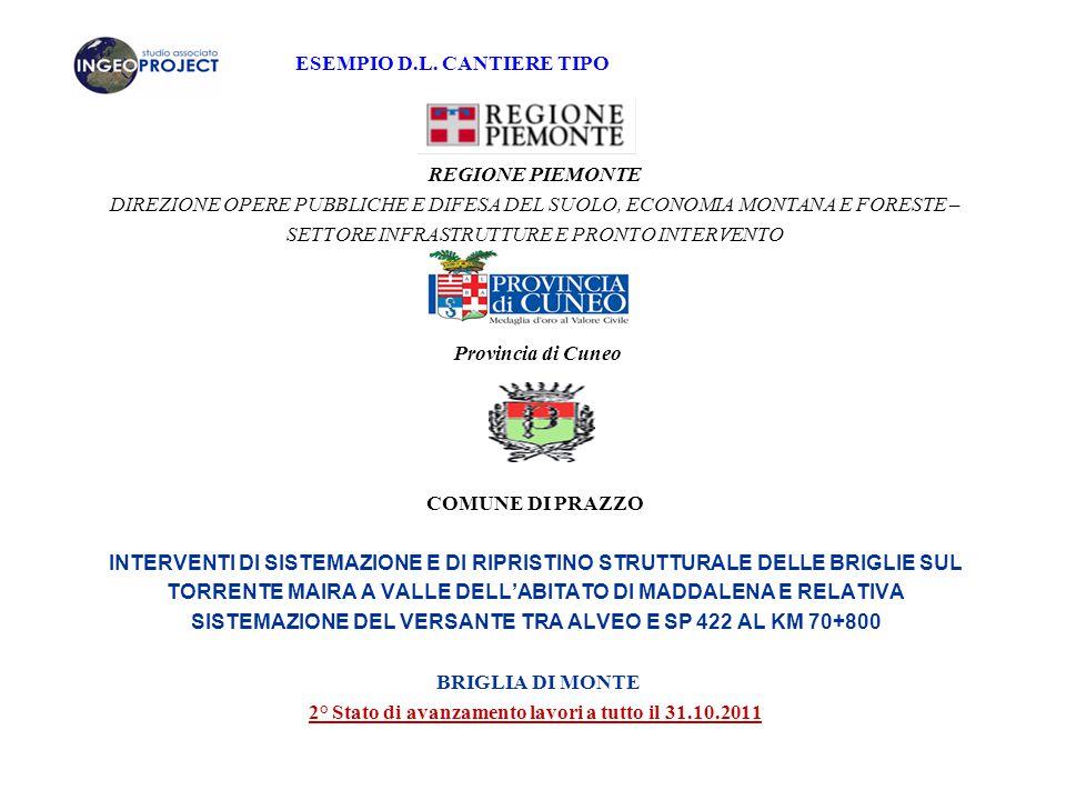 2° Stato di avanzamento lavori a tutto il 31.10.2011