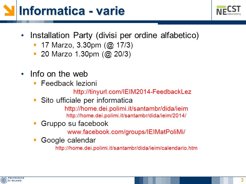 Informatica - varie Installation Party (divisi per ordine alfabetico)