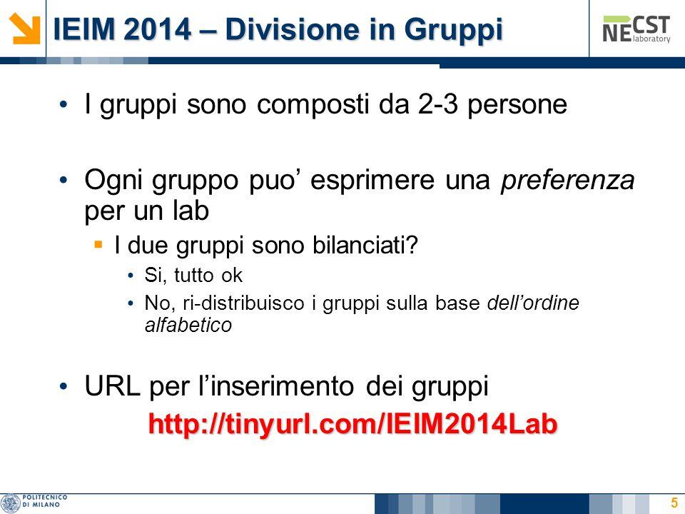IEIM 2014 – Divisione in Gruppi