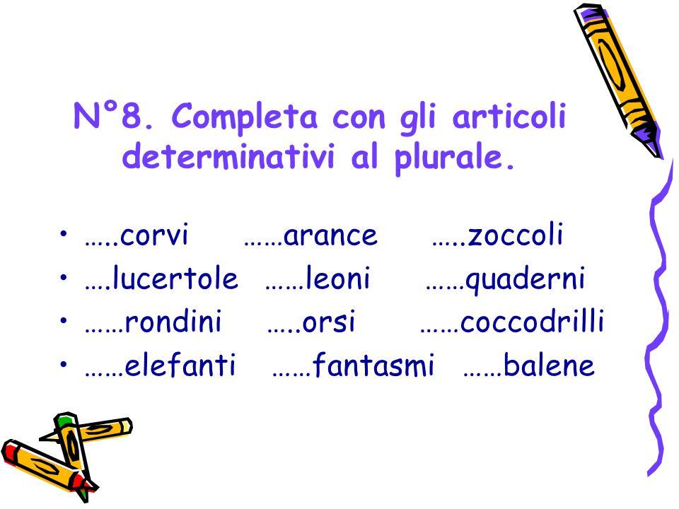N°8. Completa con gli articoli determinativi al plurale.