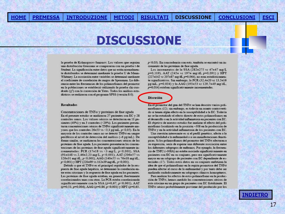 DISCUSSIONE HOME PREMESSA INTRODUZIONE METODI RISULTATI DISCUSSIONE