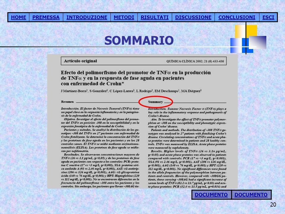 SOMMARIO HOME PREMESSA INTRODUZIONE METODI RISULTATI DISCUSSIONE