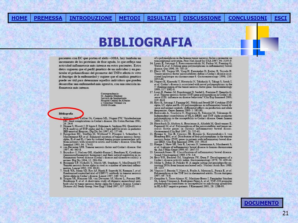 BIBLIOGRAFIA HOME PREMESSA INTRODUZIONE METODI RISULTATI DISCUSSIONE
