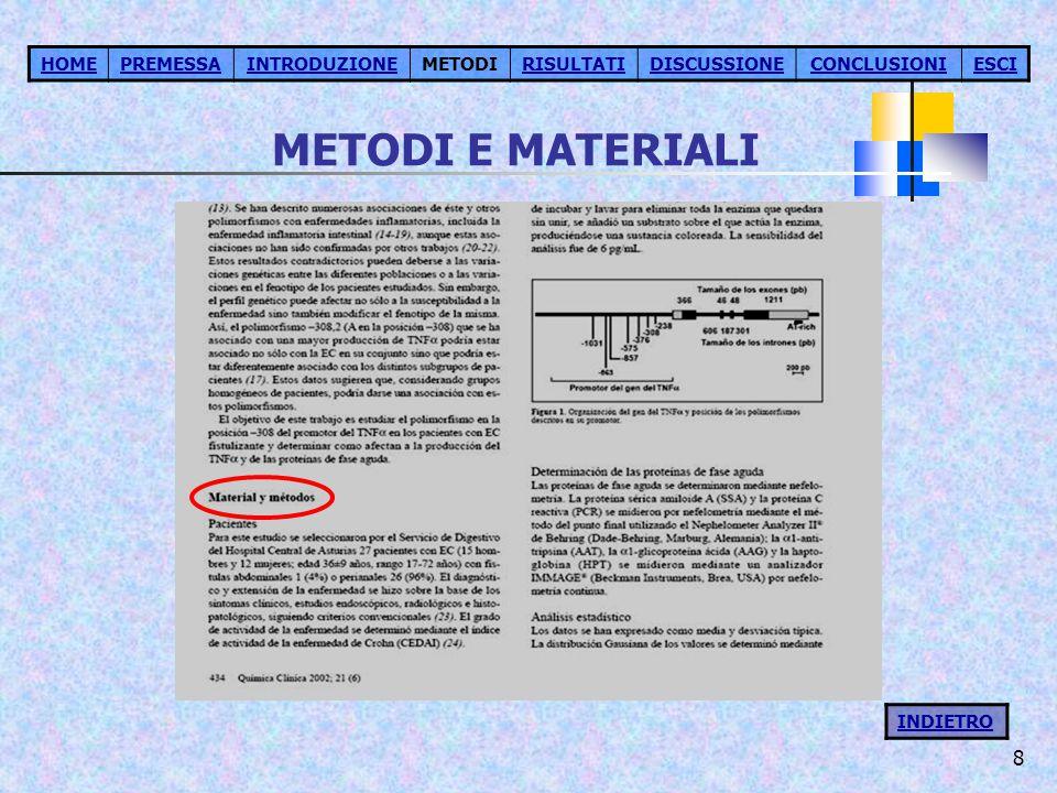 METODI E MATERIALI HOME PREMESSA INTRODUZIONE METODI RISULTATI