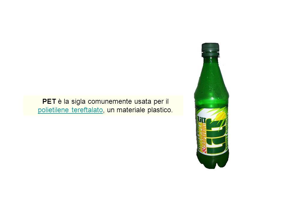 PET è la sigla comunemente usata per il polietilene tereftalato, un materiale plastico.