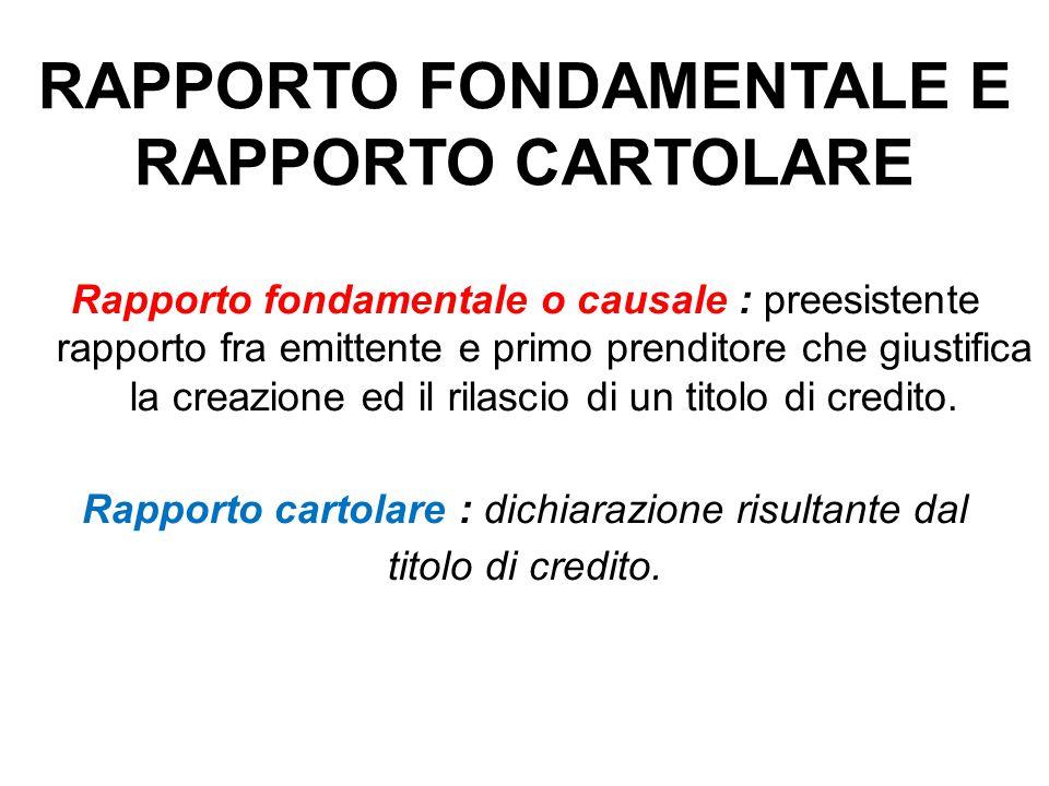 RAPPORTO FONDAMENTALE E RAPPORTO CARTOLARE