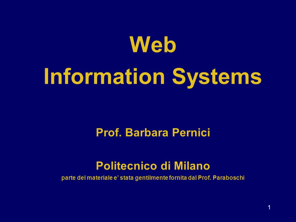 Web Information Systems Prof