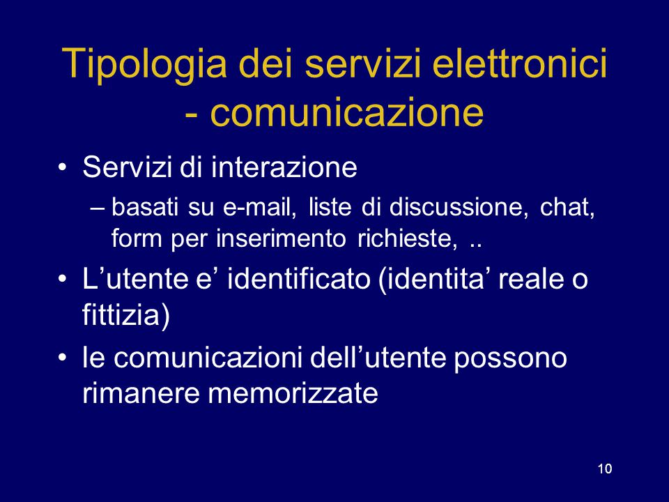 Tipologia dei servizi elettronici - comunicazione