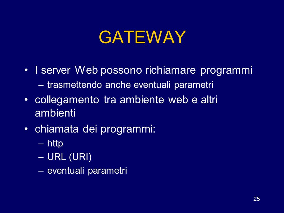 GATEWAY I server Web possono richiamare programmi