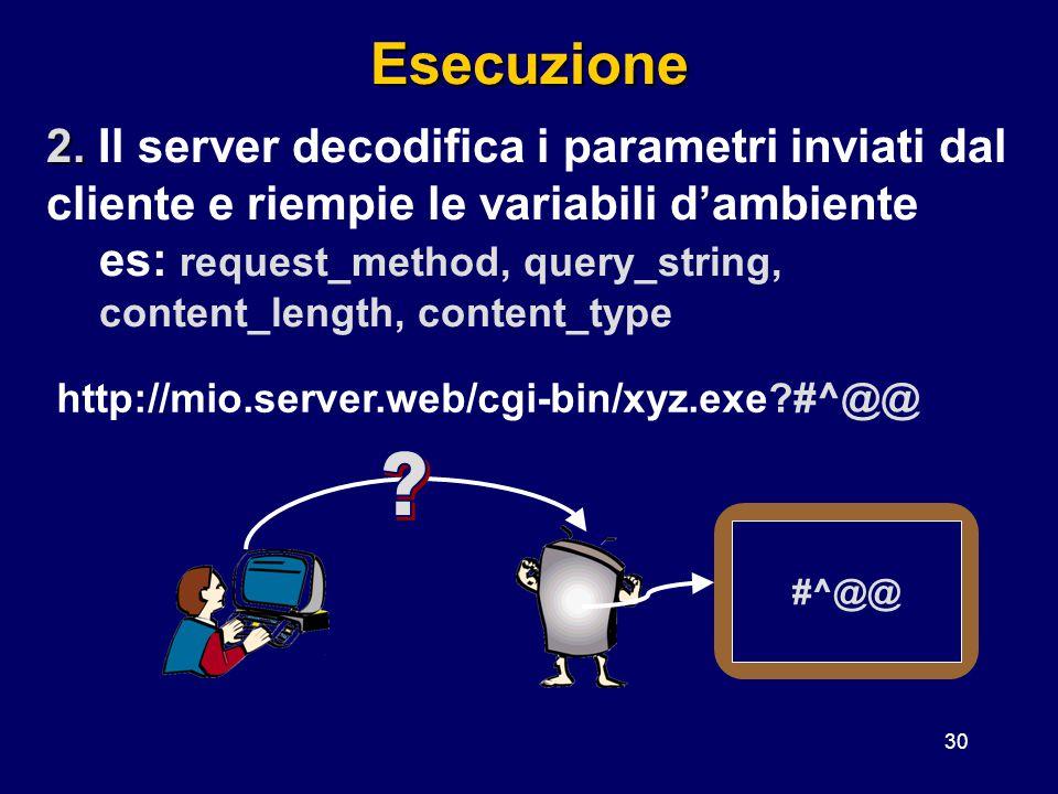 Esecuzione 2. Il server decodifica i parametri inviati dal cliente e riempie le variabili d'ambiente.