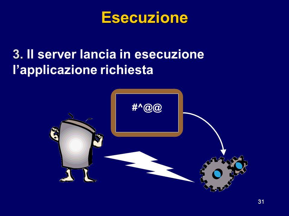 Esecuzione 3. Il server lancia in esecuzione l'applicazione richiesta