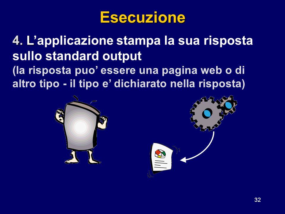 Esecuzione 4. L'applicazione stampa la sua risposta sullo standard output.