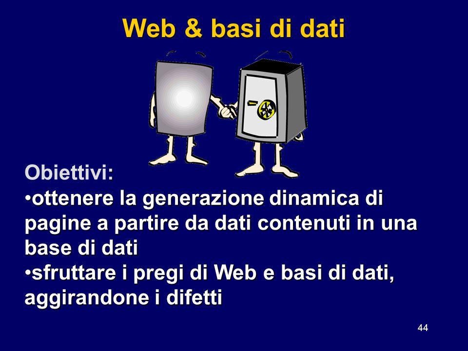 Web & basi di dati Obiettivi: