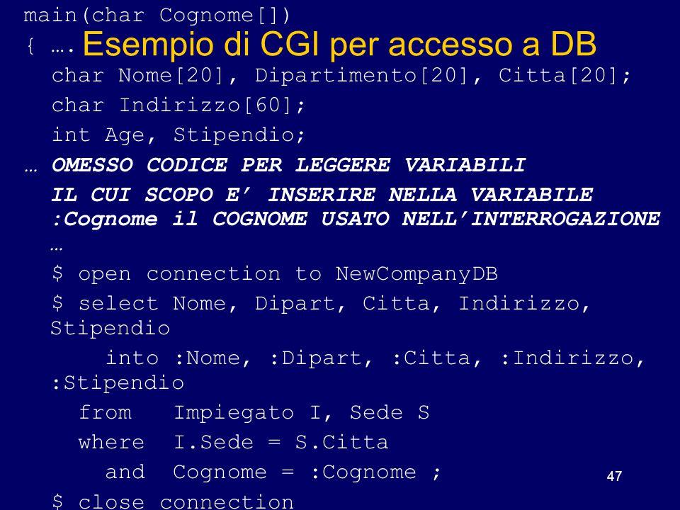 Esempio di CGI per accesso a DB
